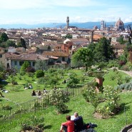 Spring meadow at Roses Garden next to Piazzale Michelangelo in Florence