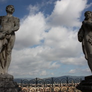 Sculptures from the top of the monumental staircase in Bardini garden Florence