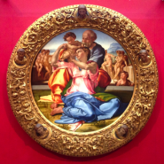 Tondo, Holy Family by Michelangelo in the Uffizi Gallery Florence