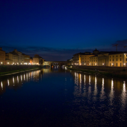 River Arno lit up in summer, Florence from the river Arno